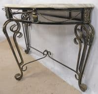 Bowfront, Metal Base. Faux Marble Top, Console Table - SOLD